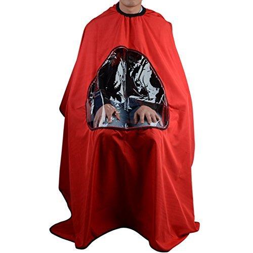 UEETEK Cabo de Peluquería Peluquero Vestido Capa de Salón de Corte Pelo con Ventana Visualización de Cabello - Rojo