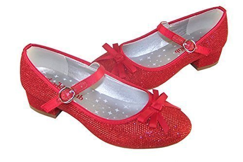 Mädchen-rot funkelnd niedriger absatz party schuhe Dorothy style - Rot, EU (Kinder Dorothy Schuhe Für)