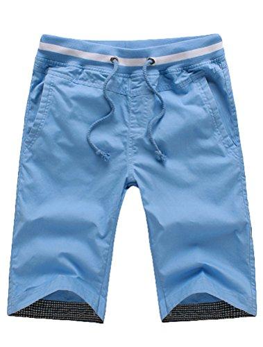 MatchLife Herren Cargo Shorts mit Gürtel Baumwolle Kurze Hosen Blaues Licht