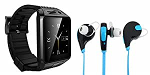 MIRZA Bluetooth DZ09 Smart Wrist Watch & Bluetooth Headset for SAMSUNG GALAXY CORE PRIME (Bluetooth Headset & DZ09 Smart Watch Wrist Watch Phone with Camera & SIM Card Support Hot Fashion New Arrival Best Selling Premium Quality Lowest Price with Apps like Facebook,Whatsapp, Twitter, Sports, Health, Pedometer, Sedentary Remind & Sleep Monitoring, Better Display, Loud Speaker, Microphone, Touch Screen, Multi-Language, Compatible with Android iOS Mobile Tablet-Assorted Color)