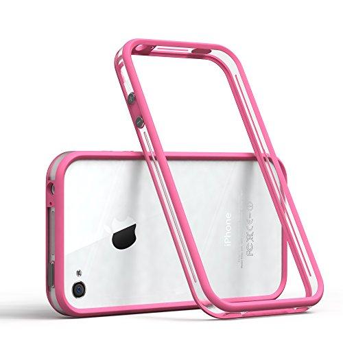 EAZY CASE Bumper für iPhone 4 / iPhone 4S Silikon Bumper für Apple iPhone 4 / iPhone 4S - Flexible Schutzhülle ALS Rahmenschutz in Pink (Iphone Bumper 4 Pink)