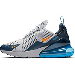 Nike Air Max 270 (GS), Chaussures d'Athlétisme Homme, Multicolore (Wolf Grey/Total Orange/Midnight Navy 15), 38.5 EU