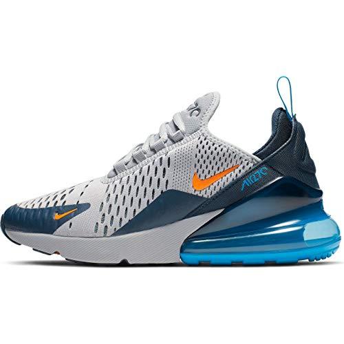 Nike Herren Air Max 270 (gs) Leichtathletikschuhe, Mehrfarbig (Wolf Grey/Total Orange/Midnight Navy 15), 38.5 EU -