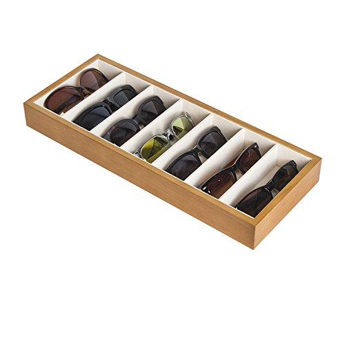 JackCubeDesign Wood 7 Compartments Brillen Display Organizer Brillen Sunglass Aufbewahrungskoffer Box Eyewear Tray Stand Open Top Suede Innen (45,2 x 18 x 4,8 cm) -: MK374A