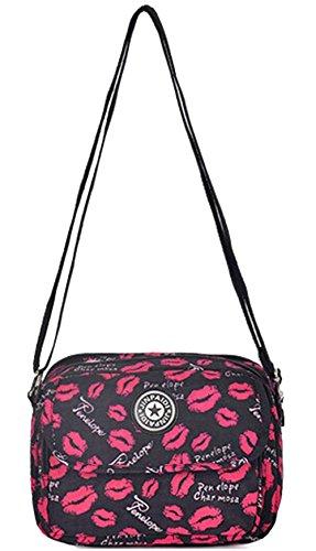 Zenness Kleine Mini Multi-Tasche Handtasche Schultertasche Umhängetasche Geldbeutel-Beutel für Teens Mädchen (Black) Black with Kiss