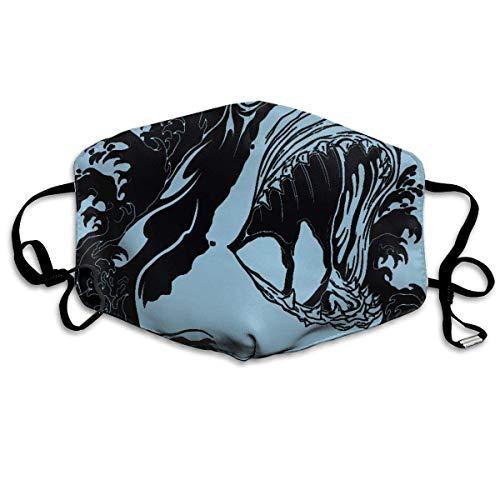 Masken für Erwachsene Waschbare wiederverwendbare MundMaskene, Face Masks Anti-Dust Mouth Cover Personalized Scary Shark Washable And Reusable Mask Warm Windproof For Women Men Boys Girls Kids