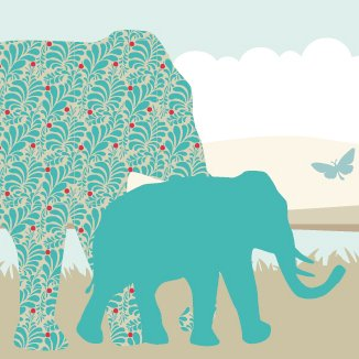 anna wand Design Cenefa Infantil Adhesiva, diseño de Elefantes, lyones y Monos...