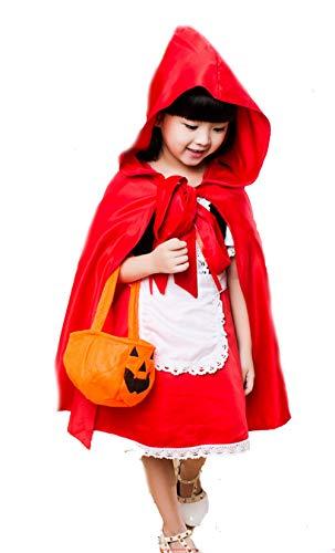LadyMYP Mädchen Karneval Halloween Cosplay Fasching verkleiden Kostüme Rotkäppchen (Rotkäppchen Kostüm Für Kids)
