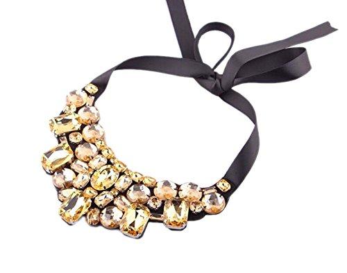 DELEY Strass Geometrischen Perlen Ribbon Lace Up Maxi Bib Choker Kragen Cluster Aussage Halskette Champagne Gold -