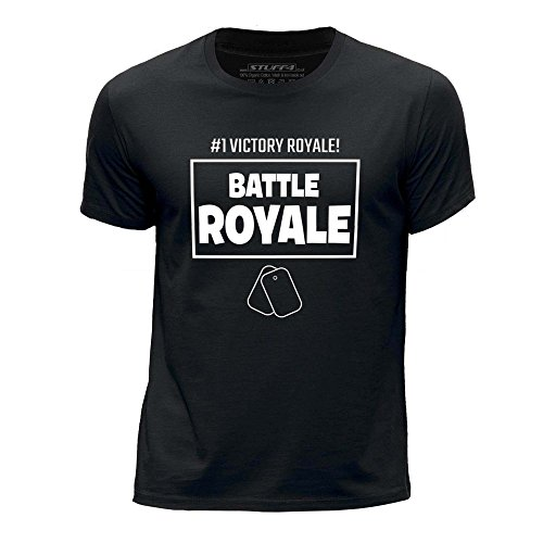 STUFF4 Garçons/9-11 Ans (134-146cm)/Noir/Col Rond T-Shirt/FN/#1 Victory Royale