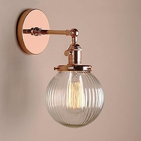 Pathson Antik Deko DesignGestreifte Kleine Kugel Glas innen Wandbeleuchtung Wandleuchten Loft-Wandlampen Wandbeleuchtung (Kupfer