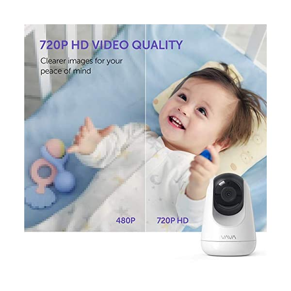 "Baby Monitor, VAVA 720P 5"" HD Display Video Baby Monitor with Camera and Audio, IPS Screen, 480ft Range, 4500 mAh Battery, Two-Way Audio, One-Click Zoom, Night Vision and Thermal Monitor VAVA 【High quality 5-inch baby monitor】Equipped with an advanced 5-inch LCD screen and 720P HD camera, the image quality is 10 times higher than the traditional 240P display baby monitor. When your baby moves, it can move 270° horizontally or 110° vertically, and can also zoom in 2x and 4x. It also has full-color images of the day and grayscale infrared images of the night, so you can clearly see all the subtle movements of your little baby. 【Up to 24hr Battery Life】 VAVA Baby monitor built in 4500mAh rechargeable battery lasts for 12hrs in display mode, 24hrs with the display turned off for full-day monitoring of your baby. 【Effortless Monitoring】 LED noise indicators and an external thermostat keep you accurately updated on your baby's wellbeing; set to the highest to alert even the heaviest sleeper or set to low volume to hear only loud noises with 7 volume levels.When your baby is crying, you can immediately respond to the walkie-talkie system to calm your baby. 6"