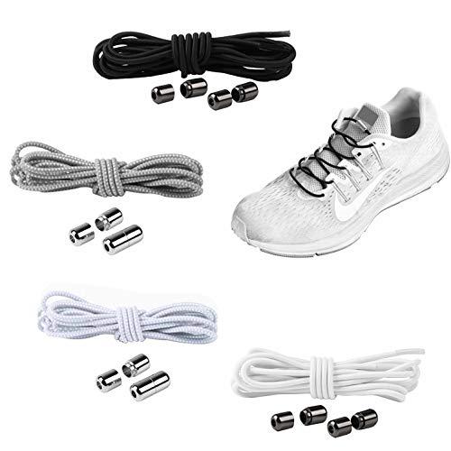 YAVO-EU Cordones elásticos Sin Nudo para Zapatillas (4 piezas 4 colores) para Maratón y Triatlón Atletas,Corredores,Niños, Ancianos Adultos