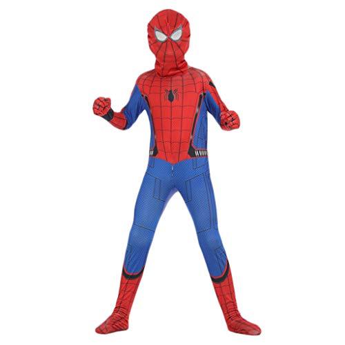 Yujingc Kinder Spider-Man Heimkehr Superheld Spiderman Kostüm Cosplay Ausstattungs-Abendkleid-Partei-Halloween-Kinder Zentai Cosplay Film Outfit,Red,L