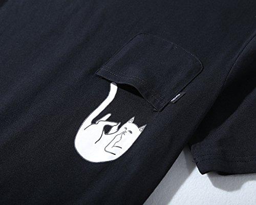 BOMOVO Herren RIPNDIP T-Shirt Basic V-Neck Tee S/S Noos Schwarz