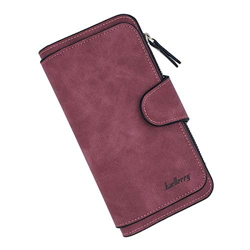 Laynos Geldbörse für Frauen, Leder, Clutch, lange Damen, Kreditkarten-Halter Organizer - Rot - Einheitsgröße (Hand-taschen Unter 20 Dollar)