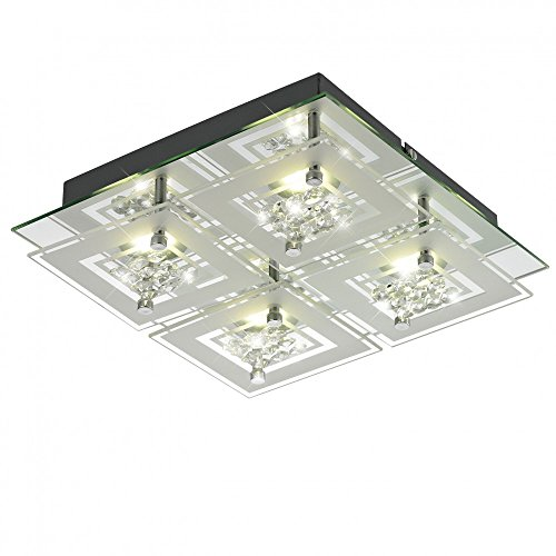 12 Watt LED Decken Lampe Leuchte Chrom Glas satiniert Kristalle Esto 9740045-4 Miranda -