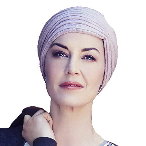 Christine Headwear Turban Hiver Fin et élégant en Maille de Coton Effet mèches très Couvrant (Rose pâle)