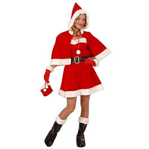 senenkostüm professionelle Miss Santa, Kleid, Gürtel, Stiefelüberzieher, Mäntelchen, Handschuhe und Handtasche mit Plüschrand, rot ()
