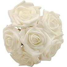 6 PCS Flores de Rosa artificiales de bodas, AZX, Flores ramo decoración DIY,