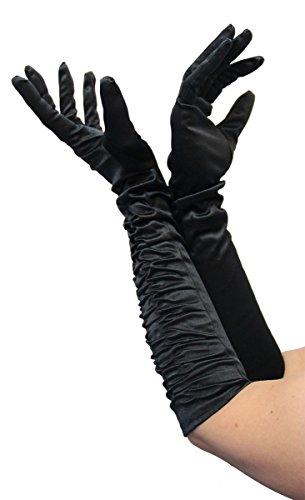 Foxxeo 1002X | Lange Deluxe Handschuhe | In den Farben schwarz, weiß, rot | weiss glänzend lange schwarze zum 20er Jahre rote Damen Kostüm, Größe:XL;Farbe:Schwarz