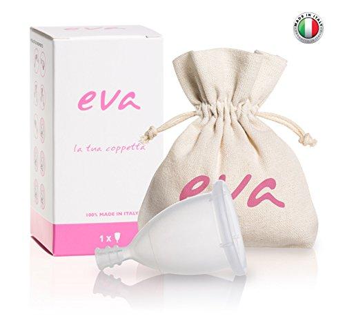 Eva – Super-Soft Menstruationstasse aus platinallergischem Silikon - 2 Größen und 2 Farben (Groß, Transparent) - MADE IN ITALY