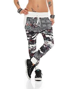 ZARMEXX Damen Jogpants bunter Floral-Print Jogginghose Jogger Freizeithose Sweatpant Baggy Boyfriend One Size