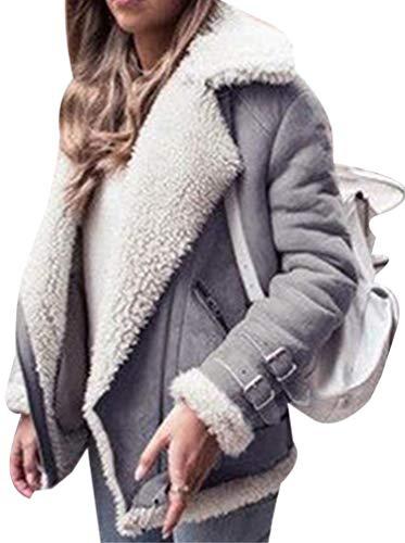 Aceshin Damen Winterjacke kurz Damenjacke schwarz Felljacke grau Plüschjacke Dicke Jacke warme Outwear Wildleder Fellmantel