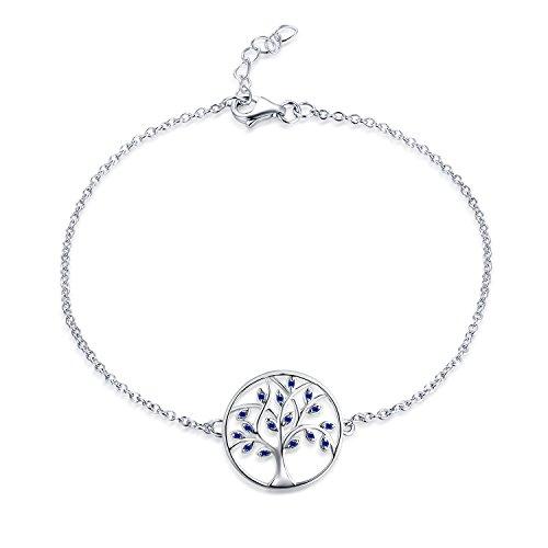 JO WISDOM Damen Armband Lebensbaum Silber 925 Baum des Lebens mit Blau Geschaffener Saphir Fußkettchen