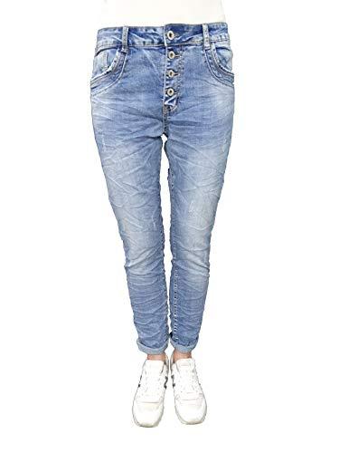 Karostar by Lexxury Denim Stretch Baggy-Boyfriend-Jeans Boyfriend 4 Knöpfe offene Knopfleiste weitere Farben (3XL-46, Destroyed) -