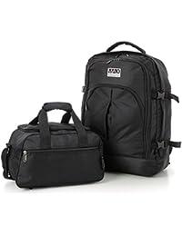 Aerolite Max Mochila 55x40x20 cm Ryanair cabina Aprobado el equipaje de mano / maletas de cabina (Negro)