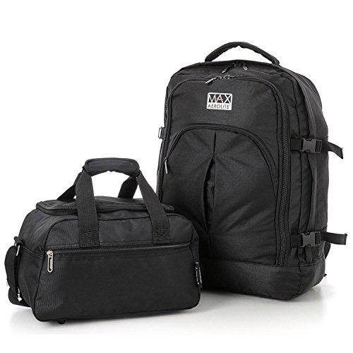 Aerolite Max Zaino 55x40x20 cm Ryanair Cabin Approvato bagaglio a mano / Carry on (2 x nero) nero + sacca da viaggio