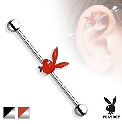 Official Licensed Playboy Bunny Red epossidica Bunny testa con Clear Eye cristallo industriale Ponteggi Bar Piercing Spessore: 1.6mm Lunghezza: 38mm Materiale: acciaio chirurgico