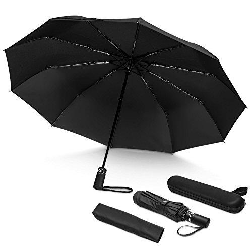 Regenschirm Taschenschirm, Hotchy winddicht bis 140 km/h, automatisches öffen/schließen, Regenschirm Beutel und Reisetasche mit Teflon-Beschichtung für die Geschäftsreise–für Herren und Damen-Schwarz