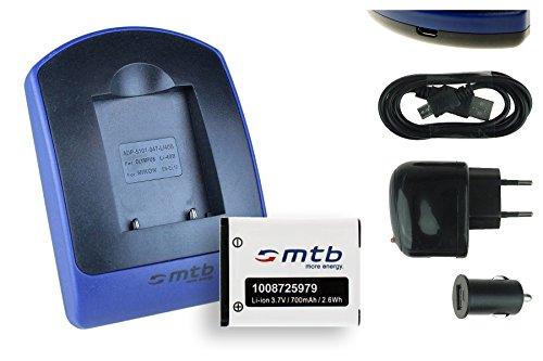 Galleria fotografica Akku + Caricabatteria (USB/Auto/Corrente) per Maginon / Rollei / Tevion / Traveller / Praktica Luxmedia... - v. lista!