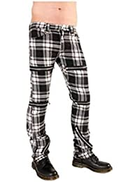 Black Pistol Destroy Pants Tartan Black-White