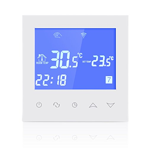Blau Touch-screen-thermostate (Ben-gi Wasser Fußboden-Heizungs-Thermostat mit Touchscreen Smart-WiFi Programmierbare Temperaturregler mit LCD-Anzeige 3A 200-240V)