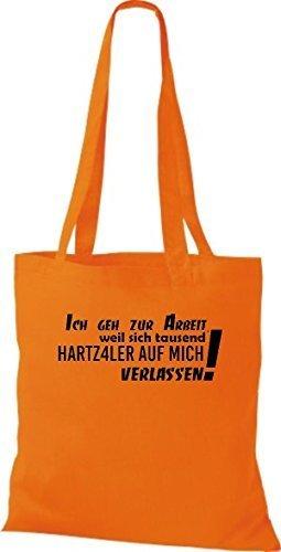 Shirtstown Stoffbeutel lustige Sprüche ich geh zur Arbeit weil sich tausend ... viele Farben orange