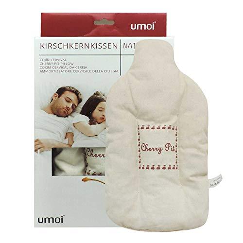 UMOI Öko Kirschkernkissen Wärmflasche mit 350 Gramm Kirschkernen und hochwertigem Bezug Neues Modell 2019 (Natur)