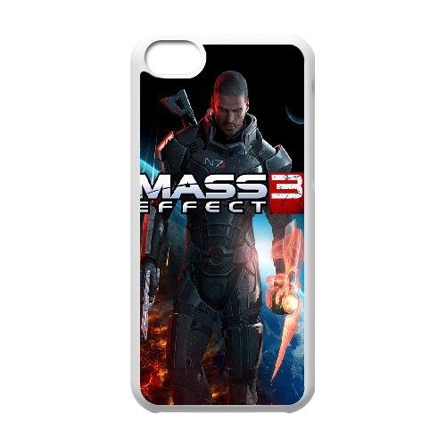 Commander Shepard Mass Effect 3 3 coque iPhone 5C Housse Blanc téléphone portable couverture de cas coque EBDXJKNBO16926