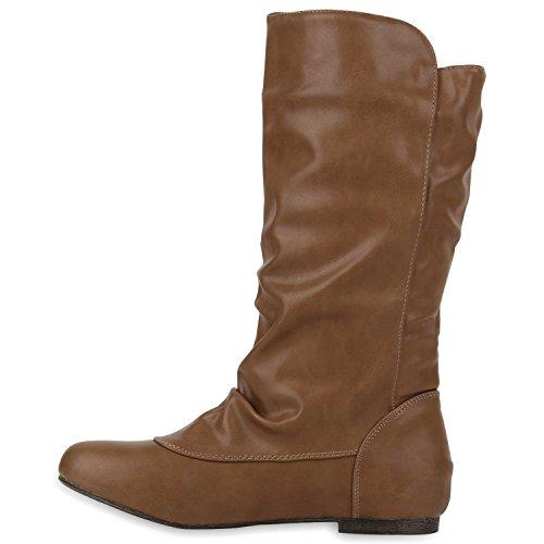 Trendy Flache Boots Bequeme Damen Stiefel Stiefeletten Hellbraun