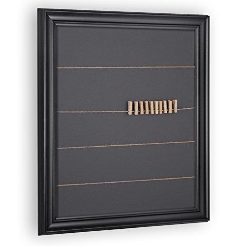 Schnurrahmen für Fotos, Bilder - Fotowand inkl. 20 Klammern und Schnur ('Athen') 30x40cm Schwarz...