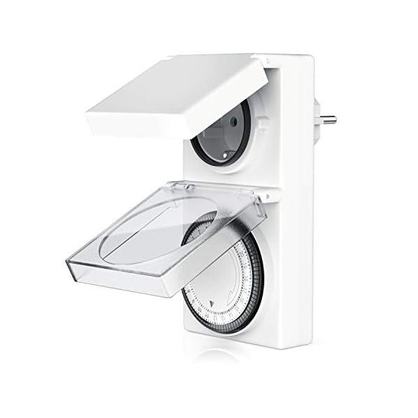 Bearware-Timer-meccanico-per-uso-esterno-96-segmenti-di-commutazione-Controllo-girevole-per-lindicazione-dellora-3680W-max-Classe-di-protezione-per-esterni-IP-44