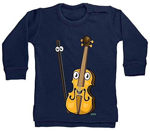 HARIZ Baby Pullover Geige Lachend Instrument Kind Lustig Plus Geschenkkarte Matrosen Dunkel Blau 24-36 Monate