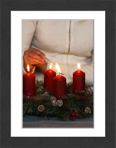 Framed-16x12-Print-of-Woman-lighting-advent-candles-Saint-Nicolas-de-Veroce-Haute-Savoie-4261251