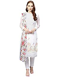 AKHILAM Women's Georgette Embroidered Unstitched Salwar Suits Salwar Suit Material Set (White_Free Size)