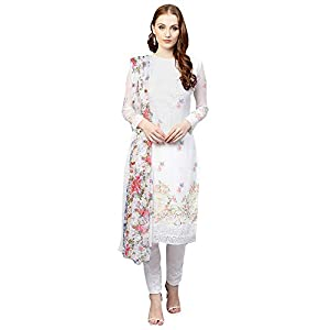 AKHILAM Women's Georgette Embroidered Unstitched Salwar Suits Dress Material Set (White_Free Size)
