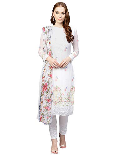 AKHILAM Women\'s Georgette Embroidered Unstitched Salwar Suits Dress Material Set (White_Free Size)