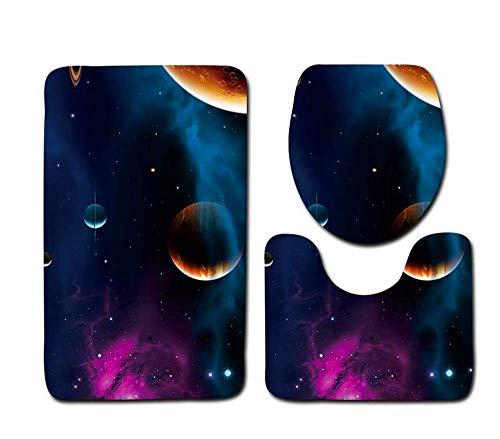 Suave shag Alfombra de baño de la serie Star, alfombrilla de baño de tres piezas, alfombrilla de baño + base de alfombra + alfombrilla de tapa de inodoro (3 piezas) (Color: A) Alfombra de baño