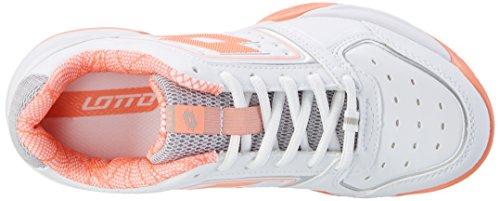 Lotto T-Tour IX 600W, Scarpe da Tennis Donna Bianco (Wht/ros Neo)